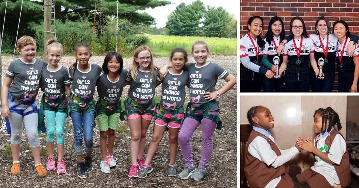 Groups of Girl Scouts having Fun