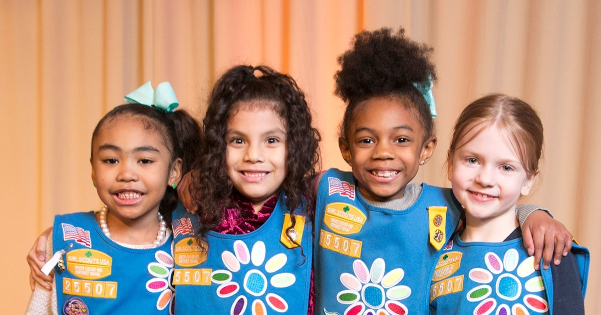 Daisy Girl Scouts in group