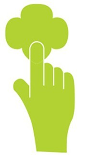 Hand Pointing to Logo